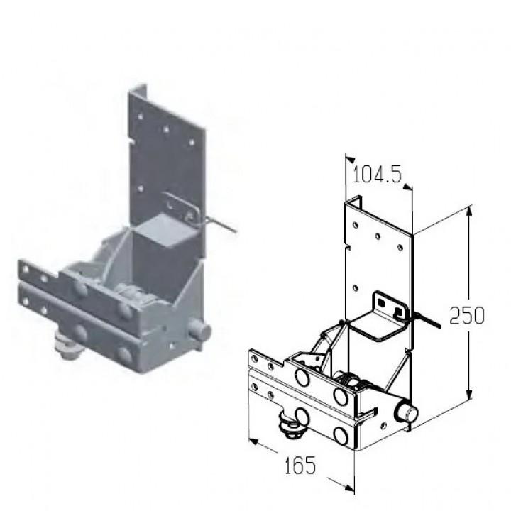 Кронштейн роликовый нижний для секционных ворот Alutech Classic и ProPlus RBI-45.110